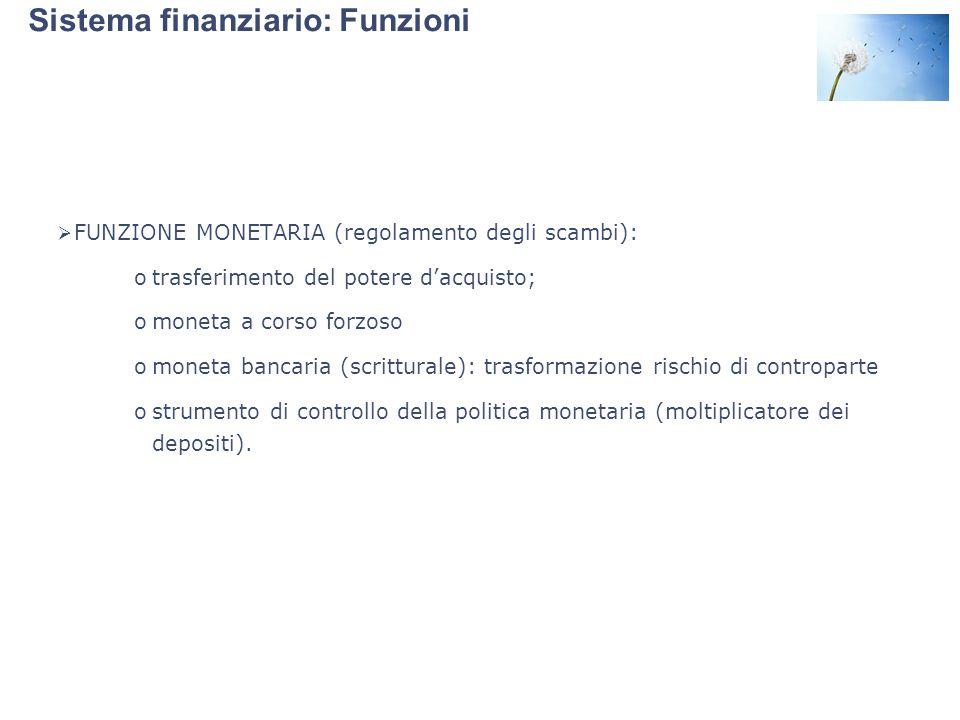 Sistema finanziario: Funzioni  FUNZIONE MONETARIA (regolamento degli scambi): otrasferimento del potere d'acquisto; omoneta a corso forzoso omoneta b
