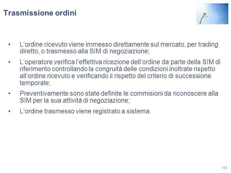 100 Trasmissione ordini L'ordine ricevuto viene immesso direttamente sul mercato, per trading diretto, o trasmesso alla SIM di negoziazione; L'operato