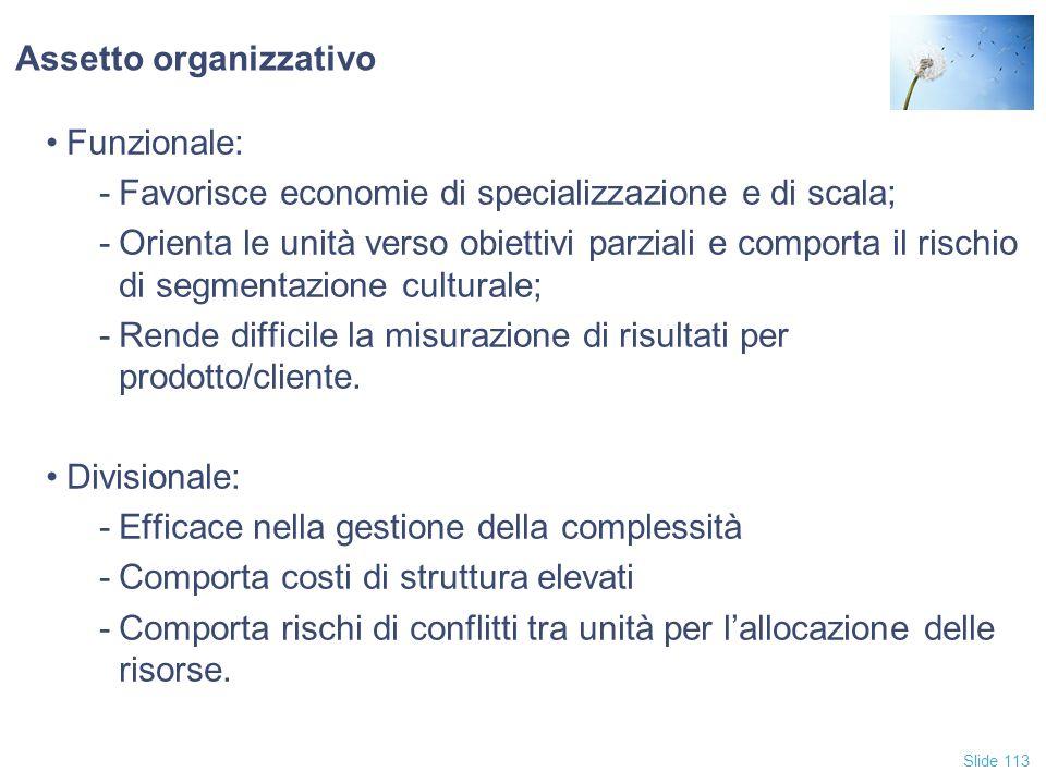 Slide 113 Assetto organizzativo Funzionale: -Favorisce economie di specializzazione e di scala; -Orienta le unità verso obiettivi parziali e comporta