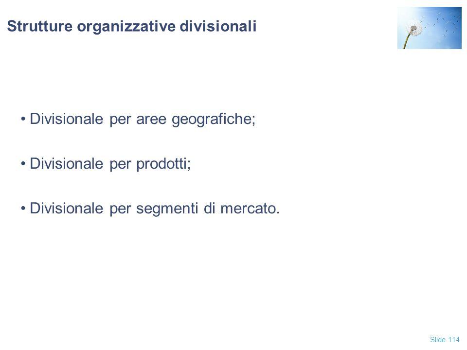 Slide 114 Strutture organizzative divisionali Divisionale per aree geografiche; Divisionale per prodotti; Divisionale per segmenti di mercato.
