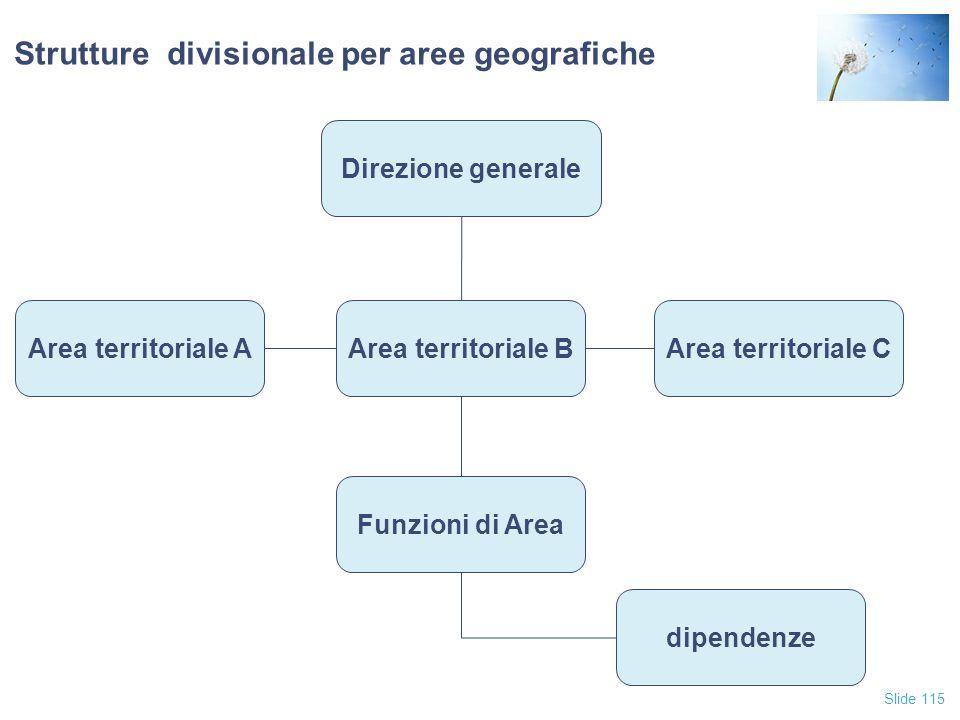Slide 115 Strutture divisionale per aree geografiche Direzione generale Area territoriale AArea territoriale CArea territoriale B Funzioni di Area dip