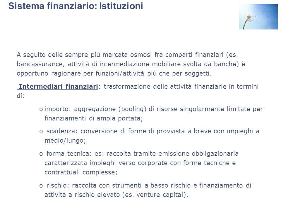 Sistema finanziario: Istituzioni A seguito delle sempre più marcata osmosi fra comparti finanziari (es. bancassurance, attività di intermediazione mob