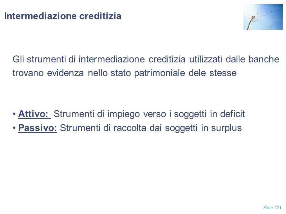 Slide 121 Intermediazione creditizia Gli strumenti di intermediazione creditizia utilizzati dalle banche trovano evidenza nello stato patrimoniale del