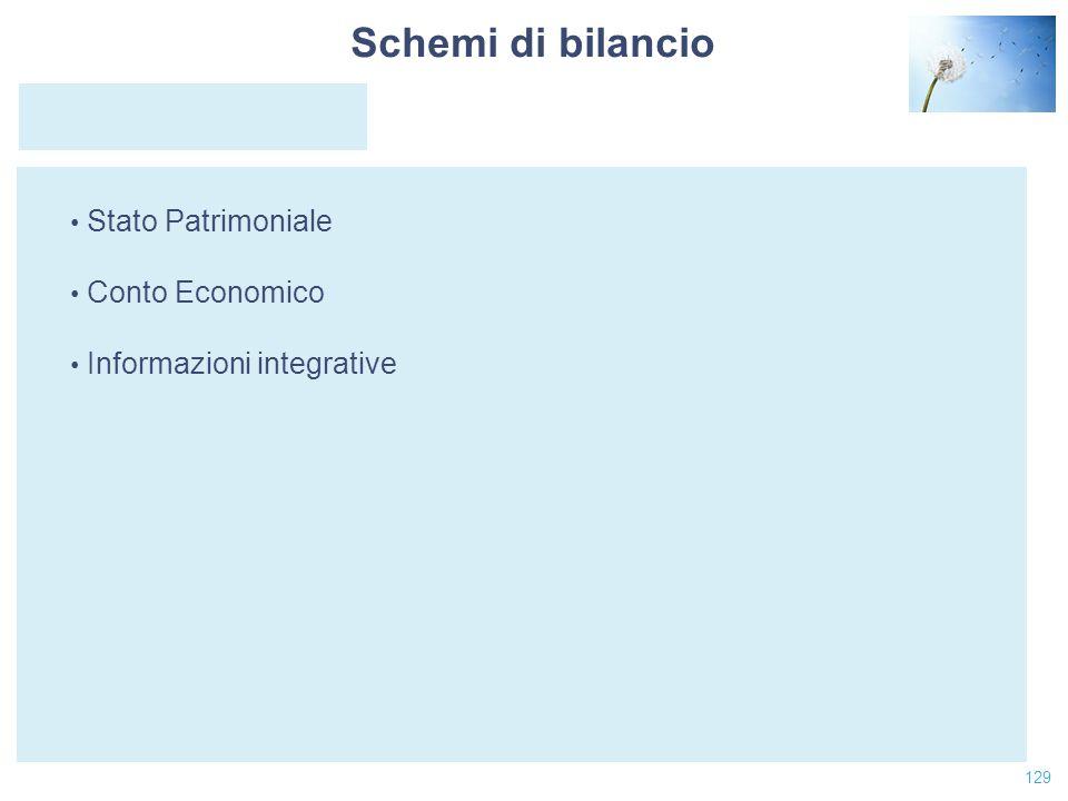 129 Stato Patrimoniale Conto Economico Informazioni integrative Schemi di bilancio