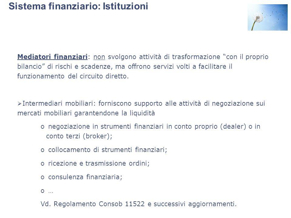 """Sistema finanziario: Istituzioni Mediatori finanziari: non svolgono attività di trasformazione """"con il proprio bilancio"""" di rischi e scadenze, ma offr"""