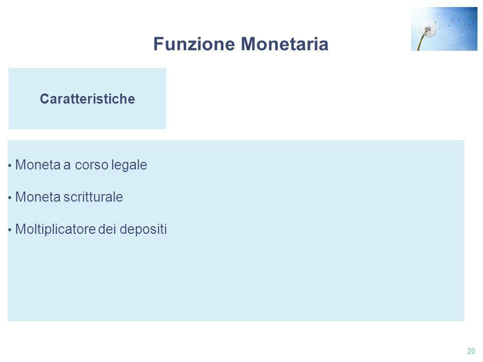 20 Caratteristiche Moneta a corso legale Moneta scritturale Moltiplicatore dei depositi Funzione Monetaria
