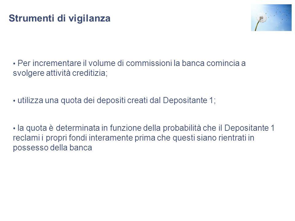 S Strumenti di vigilanza menti di vigilanza Per incrementare il volume di commissioni la banca comincia a svolgere attività creditizia; utilizza una q