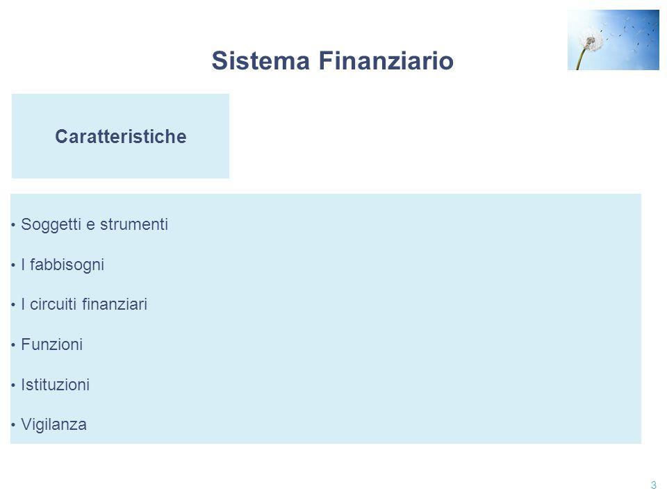 3 Caratteristiche Soggetti e strumenti I fabbisogni I circuiti finanziari Funzioni Istituzioni Vigilanza Sistema Finanziario