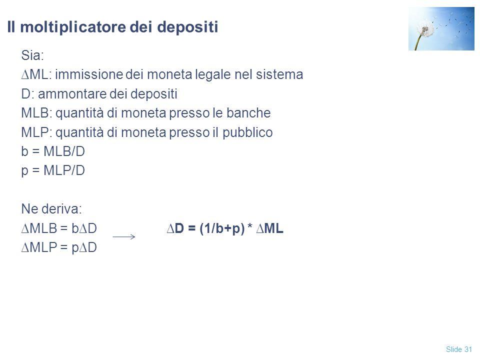 Slide 31 Il moltiplicatore dei depositi Sia: ∆ML: immissione dei moneta legale nel sistema D: ammontare dei depositi MLB: quantità di moneta presso le
