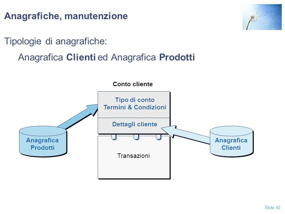 Slide 40 Anagrafiche, manutenzione Tipologie di anagrafiche: Anagrafica Clienti ed Anagrafica Prodotti Tipo di conto Termini & Condizioni Dettagli cli
