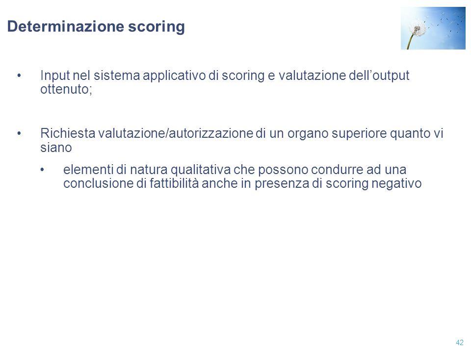 42 Determinazione scoring Input nel sistema applicativo di scoring e valutazione dell'output ottenuto; Richiesta valutazione/autorizzazione di un orga