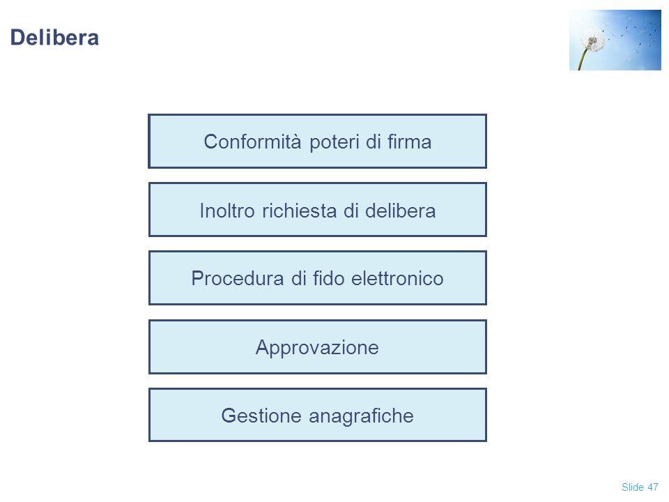 Slide 47 Conformità poteri di firma Inoltro richiesta di delibera Procedura di fido elettronico Approvazione Gestione anagrafiche Delibera