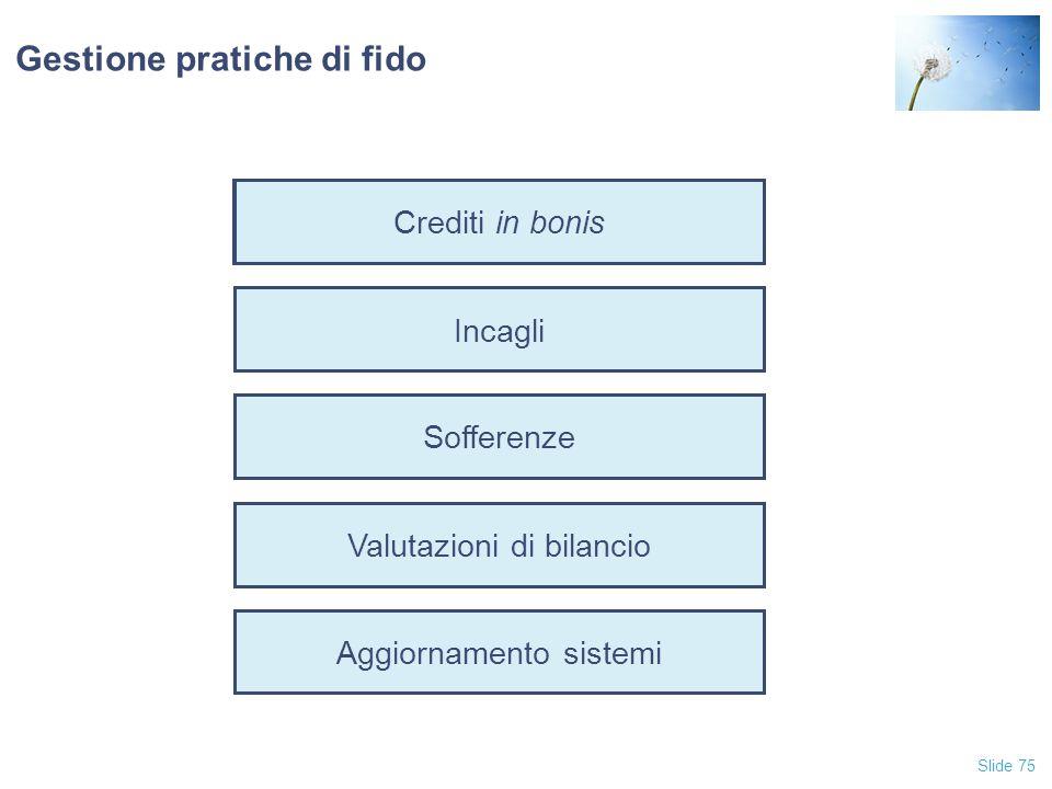 Slide 75 Crediti in bonis Incagli Sofferenze Valutazioni di bilancio Aggiornamento sistemi Gestione pratiche di fido