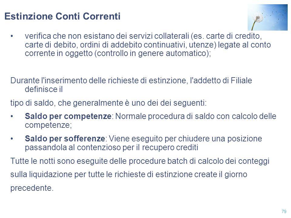 79 Estinzione Conti Correnti verifica che non esistano dei servizi collaterali (es. carte di credito, carte di debito, ordini di addebito continuativi