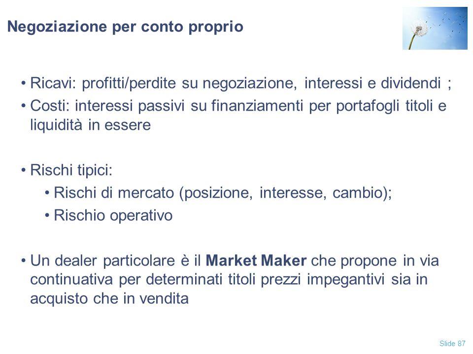 Slide 87 Negoziazione per conto proprio Ricavi: profitti/perdite su negoziazione, interessi e dividendi ; Costi: interessi passivi su finanziamenti pe