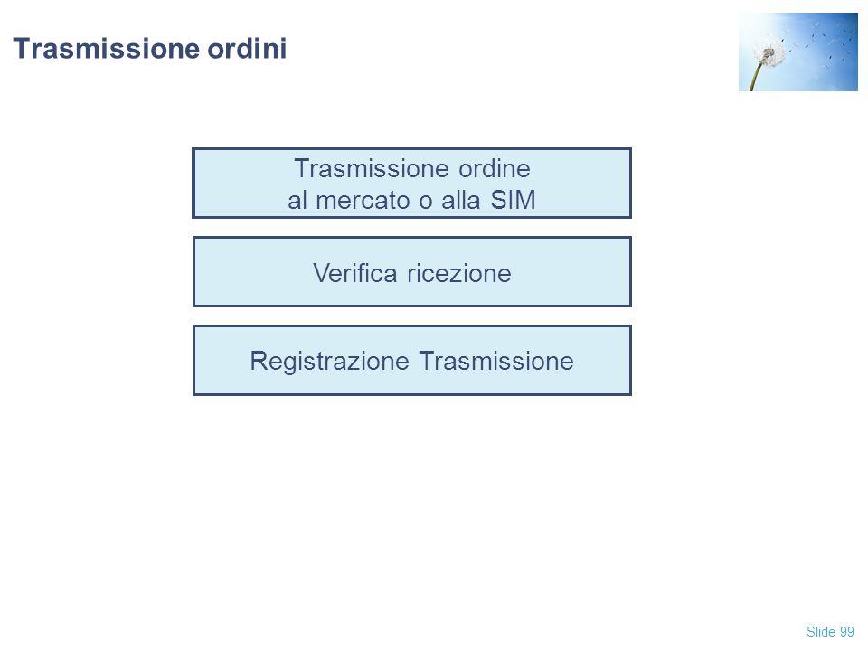 Slide 99 Trasmissione ordine al mercato o alla SIM Verifica ricezione Registrazione Trasmissione Trasmissione ordini