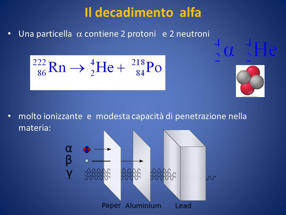 Il decadimento alfa Una particella  contiene 2 protoni e 2 neutroni molto ionizzante e modesta capacità di penetrazione nella materia: