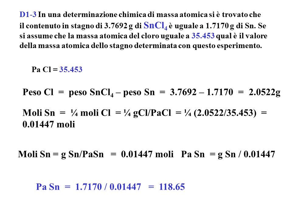 D1-4 La massa atomica dello zolfo è stata determinata dalla reazione di 6.2984 g di Na 2 CO 3 con acido solforico; determinando la massa del prodotto Na 2 SO 4 formatosi, risultò per essa il valore di 8.4380g.