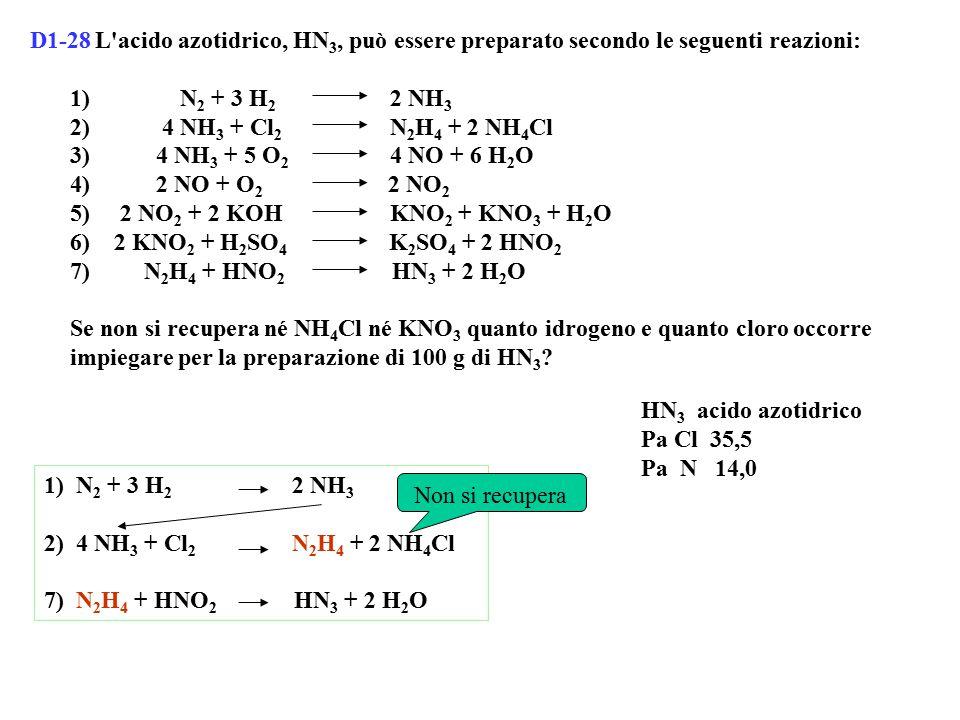 D1-28 L acido azotidrico, HN 3, può essere preparato secondo le seguenti reazioni: 1) N 2 + 3 H 2 2 NH 3 2) 4 NH 3 + Cl 2 N 2 H 4 + 2 NH 4 Cl 3) 4 NH 3 + 5 O 2 4 NO + 6 H 2 O 4) 2 NO + O 2 2 NO 2 5) 2 NO 2 + 2 KOH KNO 2 + KNO 3 + H 2 O 6) 2 KNO 2 + H 2 SO 4 K 2 SO 4 + 2 HNO 2 7) N 2 H 4 + HNO 2 HN 3 + 2 H 2 O Se non si recupera né NH 4 Cl né KNO 3 quanto idrogeno e quanto cloro occorre impiegare per la preparazione di 100 g di HN 3 .