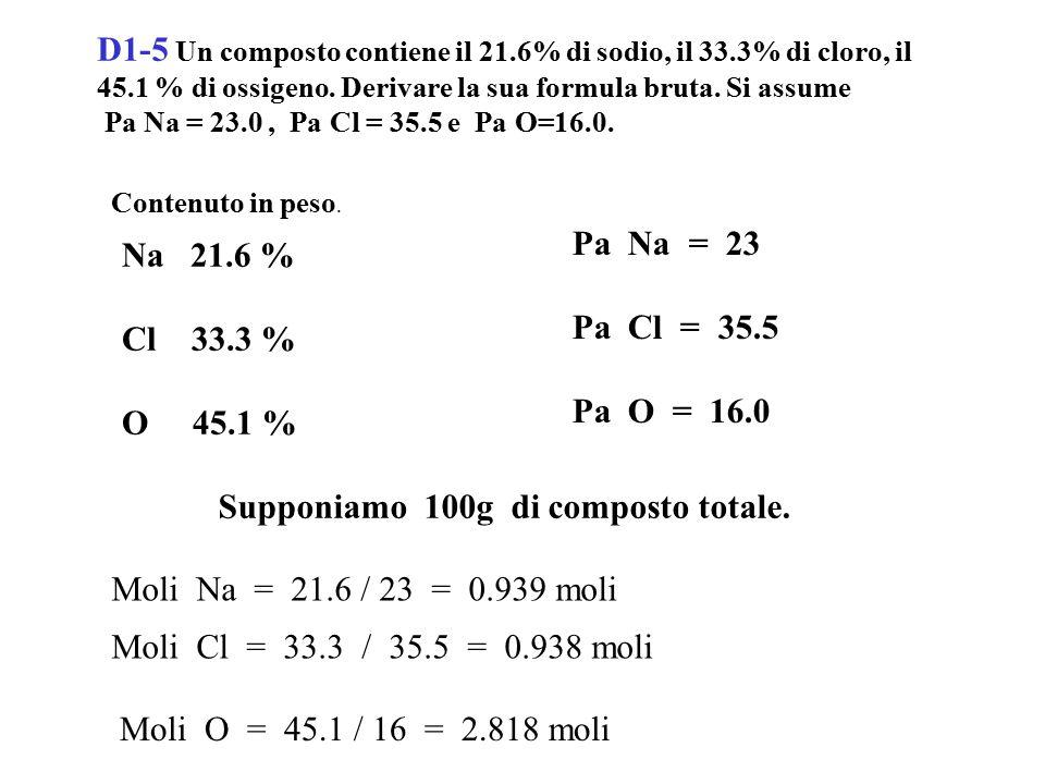 D1-17 Lo iodio può essere prodotto con la reazione 2 NaIO 3 + 5 NaHSO 3 3 NaHSO 4 + 2 Na 2 SO 4 + H 2 O + I 2.