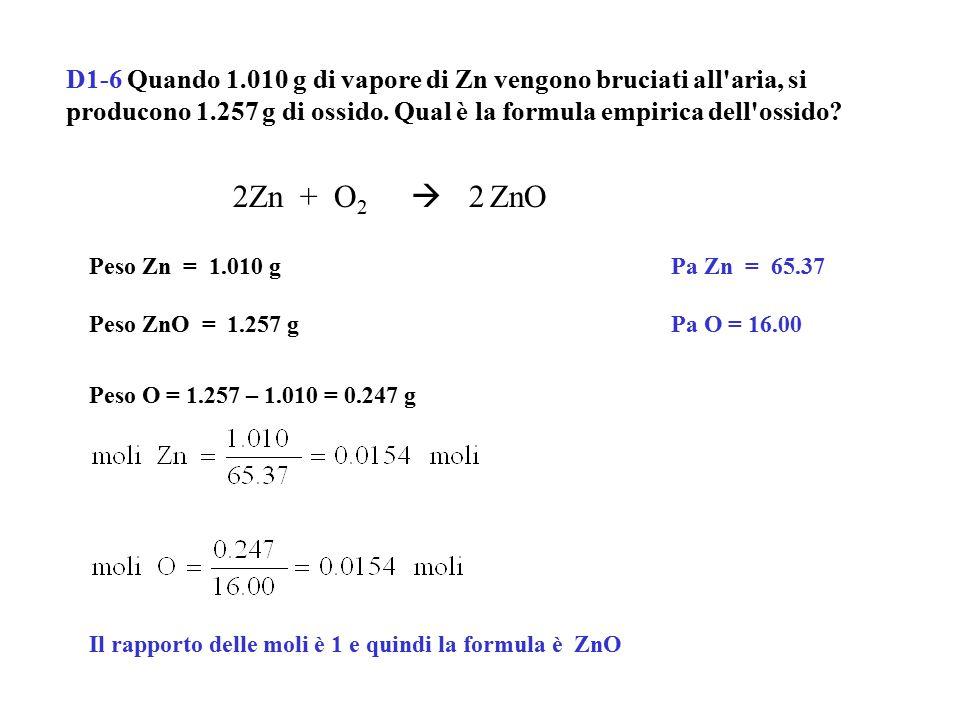 D1-7 Determinare la formula più semplice di un composto la cui composizione percentuale è Cr = 26.52%, S = 24.52%, O = 48.96%.