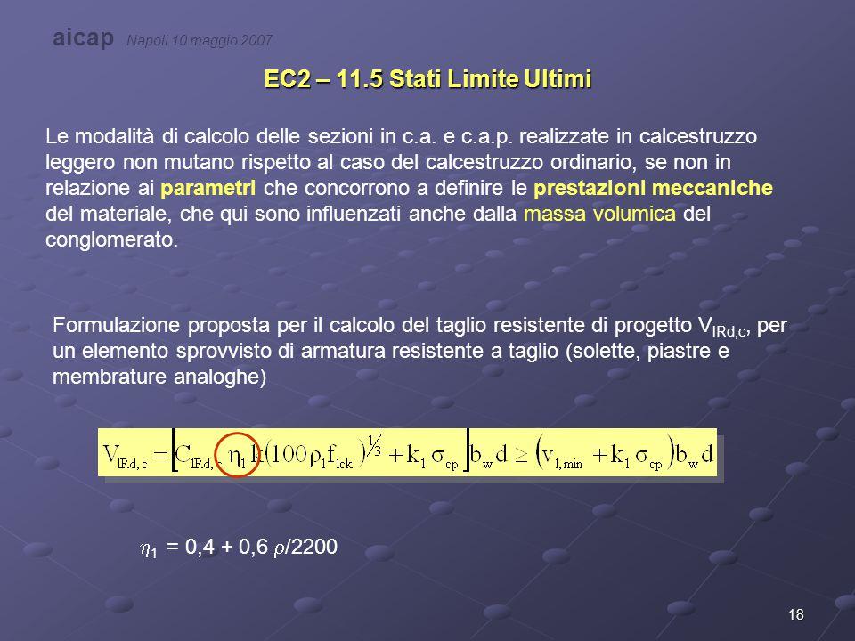 18 EC2 – 11.5 Stati Limite Ultimi Le modalità di calcolo delle sezioni in c.a. e c.a.p. realizzate in calcestruzzo leggero non mutano rispetto al caso