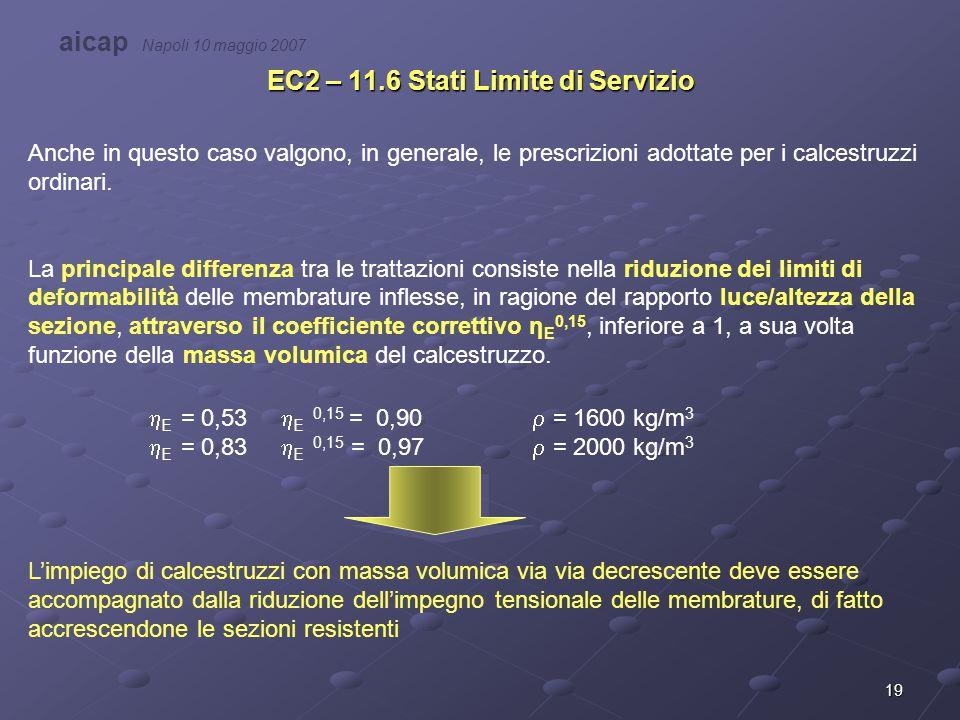 19 EC2 – 11.6 Stati Limite di Servizio Anche in questo caso valgono, in generale, le prescrizioni adottate per i calcestruzzi ordinari. La principale