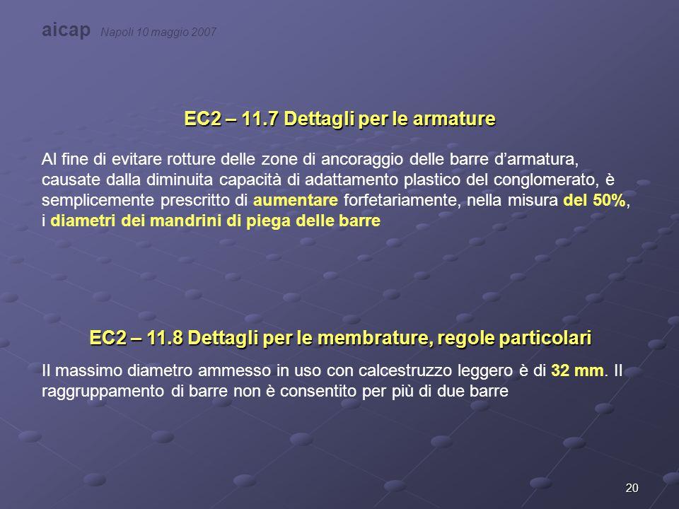 20 EC2 – 11.7 Dettagli per le armature Al fine di evitare rotture delle zone di ancoraggio delle barre d'armatura, causate dalla diminuita capacità di