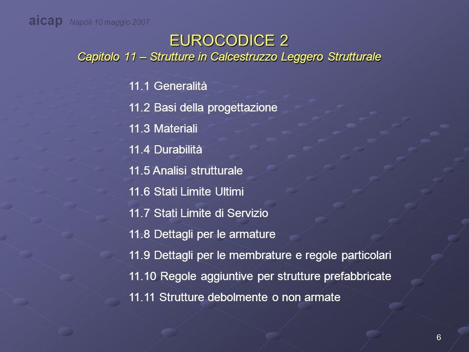17 EC2 – 11.4 Durabilità Le classi di esposizione individuate per calcestruzzi ordinari valgono anche per i calcestruzzi leggeri.
