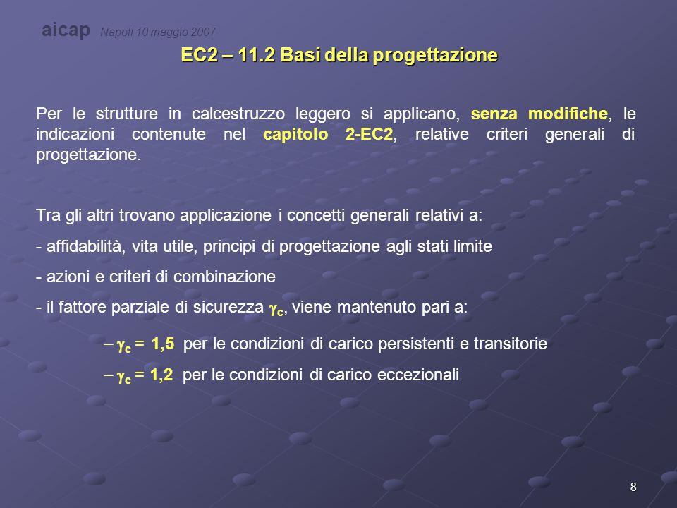 19 EC2 – 11.6 Stati Limite di Servizio Anche in questo caso valgono, in generale, le prescrizioni adottate per i calcestruzzi ordinari.