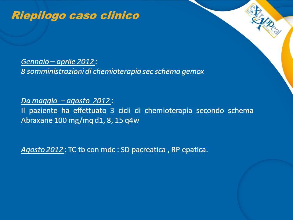Riepilogo caso clinico Gennaio – aprile 2012 : 8 somministrazioni di chemioterapia sec schema gemox Da maggio – agosto 2012 : Il paziente ha effettuat