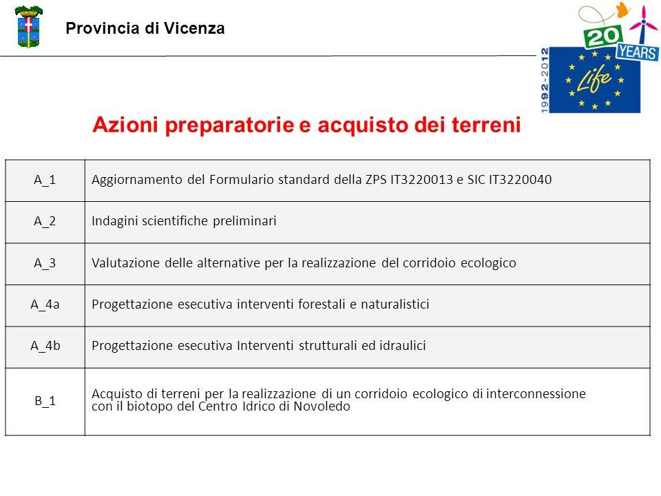 Provincia di Vicenza A_1Aggiornamento del Formulario standard della ZPS IT3220013 e SIC IT3220040 A_2Indagini scientifiche preliminari A_3Valutazione