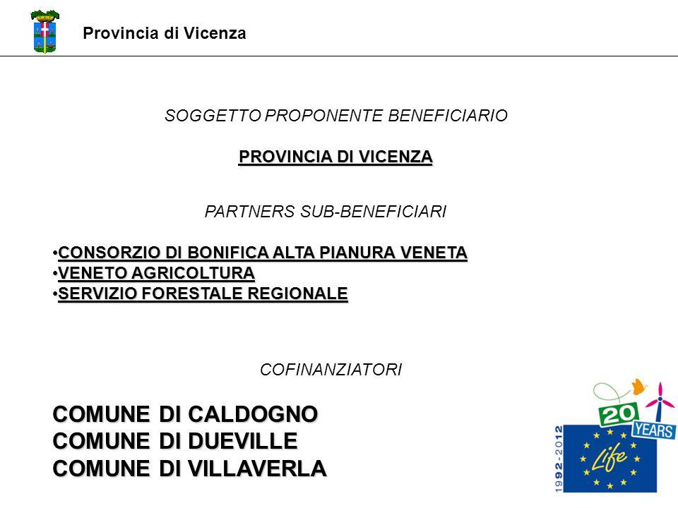 Provincia di Vicenza SOGGETTO PROPONENTE BENEFICIARIO PROVINCIA DI VICENZA PARTNERS SUB-BENEFICIARI CONSORZIO DI BONIFICA ALTA PIANURA VENETA CONSORZI