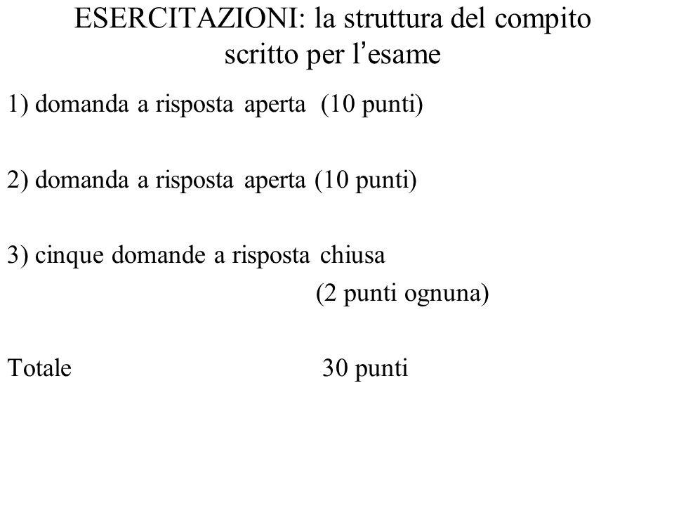 ESERCITAZIONI: la struttura del compito scritto per l'esame 1) domanda a risposta aperta (10 punti) 2) domanda a risposta aperta (10 punti) 3) cinque