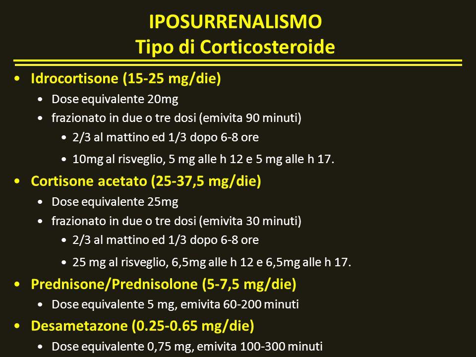 Idrocortisone (15-25 mg/die) Dose equivalente 20mg frazionato in due o tre dosi (emivita 90 minuti) 2/3 al mattino ed 1/3 dopo 6-8 ore 10mg al risvegl