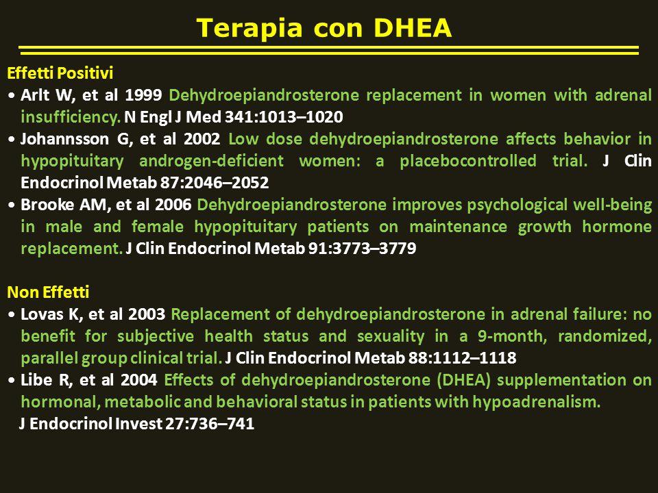 Terapia con DHEA Effetti Positivi Arlt W, et al 1999 Dehydroepiandrosterone replacement in women with adrenal insufficiency. N Engl J Med 341:1013–102