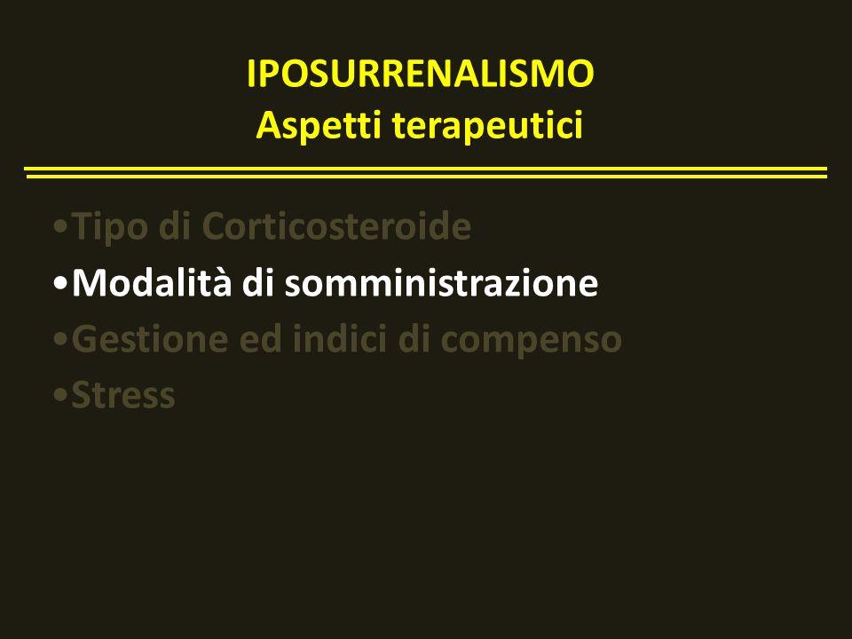 Tipo di Corticosteroide Modalità di somministrazione Gestione ed indici di compenso Stress IPOSURRENALISMO Aspetti terapeutici