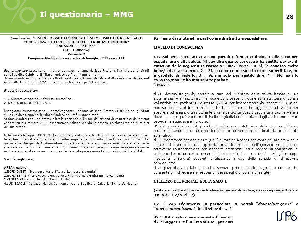 28 Il questionario – MMG Questionario: SISTEMI DI VALUTAZIONE DEI SISTEMI OSPEDALIERI IN ITALIA: CONOSCENZA, UTILIZZO, FRUIBILITA' - I GIUDIZI DEGLI MMG INDAGINE PER AIOP 1° (RIF.