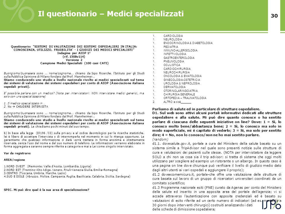 30 Il questionario – Medici specializzati Parliamo di salute ed in particolare di strutture ospedaliere.