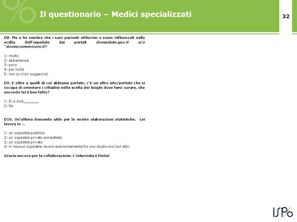 32 Il questionario – Medici specializzati D8.