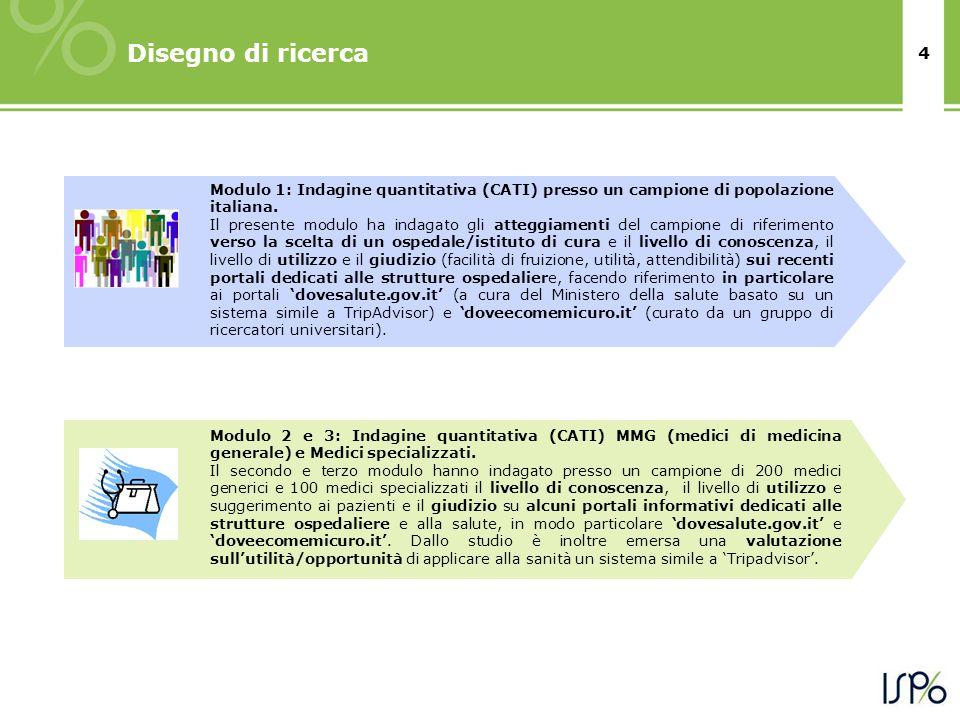 4 Disegno di ricerca Modulo 1: Indagine quantitativa (CATI) presso un campione di popolazione italiana.