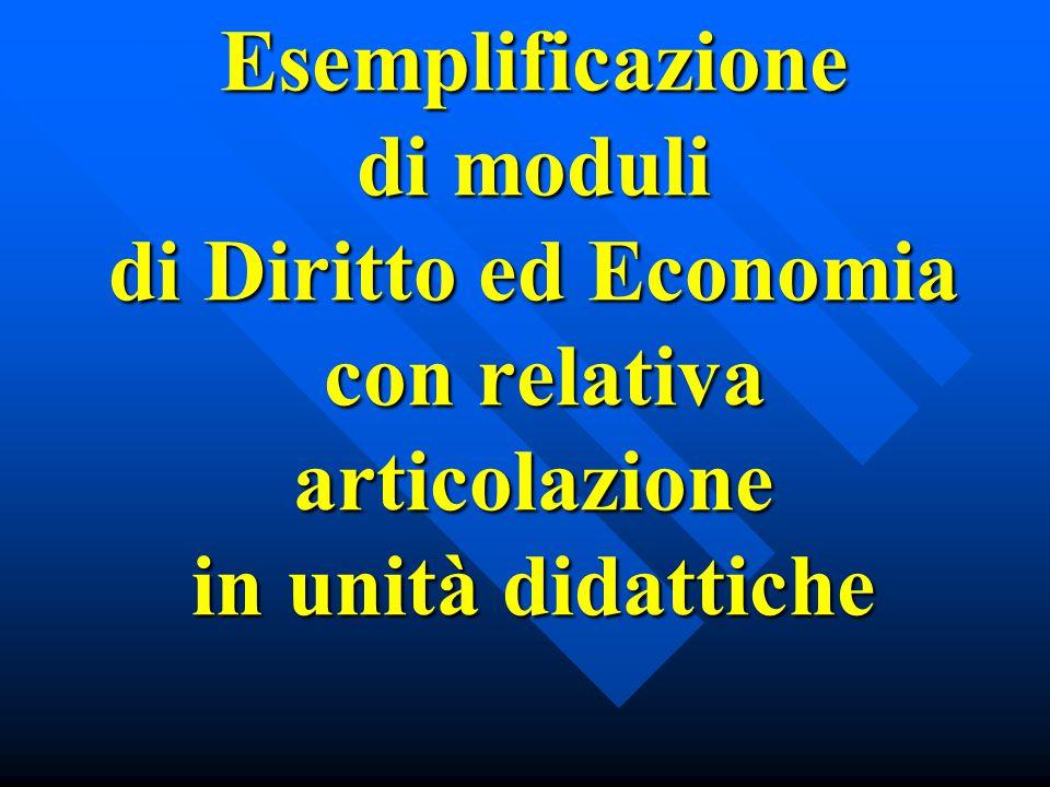 Esemplificazione di moduli di Diritto ed Economia con relativa articolazione in unità didattiche Esemplificazione di moduli di Diritto ed Economia con relativa articolazione in unità didattiche