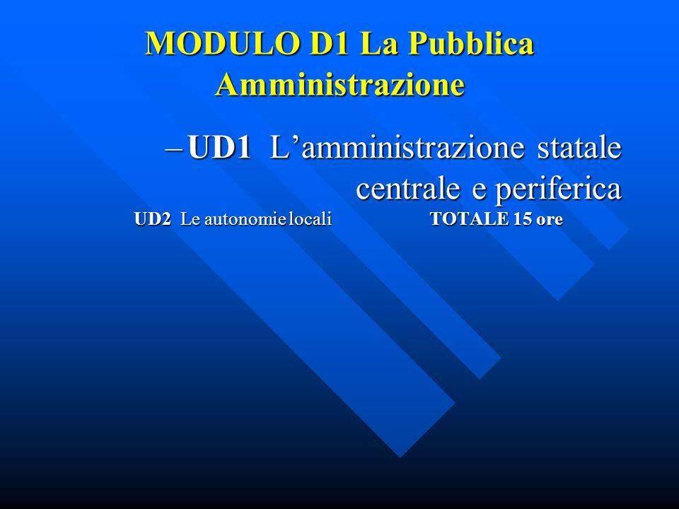 MODULO D1 La Pubblica Amministrazione –UD1 L'amministrazione statale centrale e periferica UD2 Le autonomie locali TOTALE 15 ore