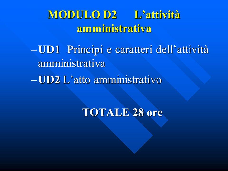 MODULO D2 L'attività amministrativa –UD1 Principi e caratteri dell'attività amministrativa –UD2 L'atto amministrativo TOTALE 28 ore TOTALE 28 ore