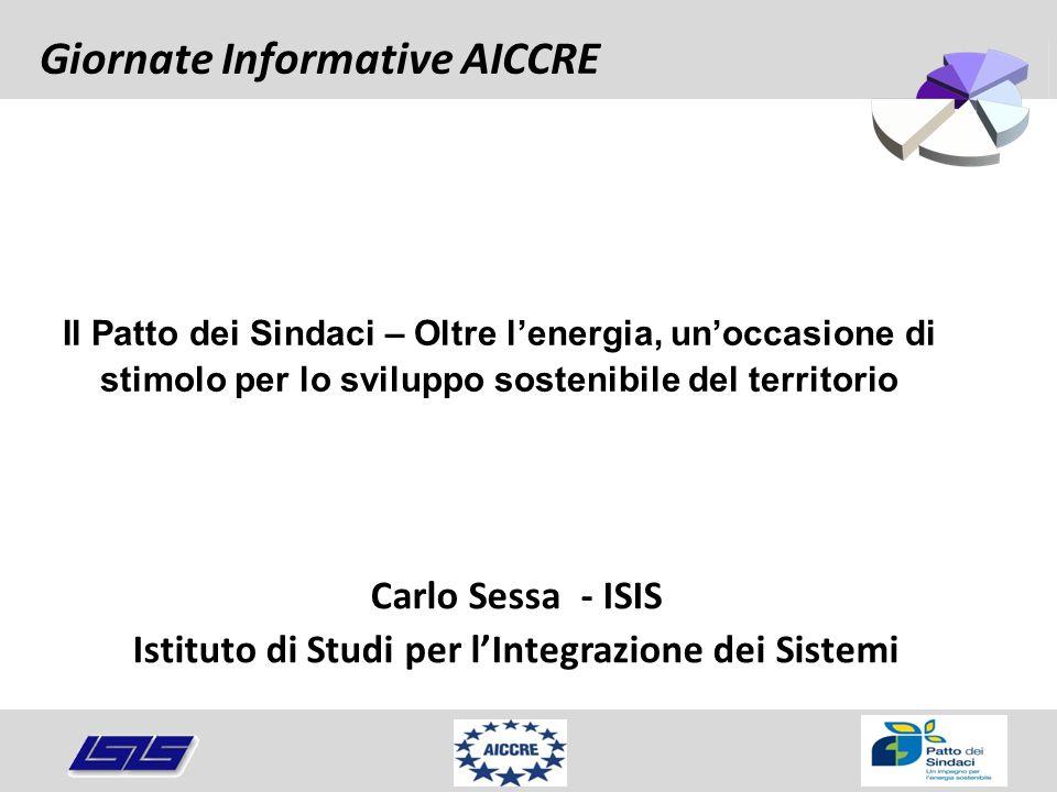 Carlo Sessa - ISIS Istituto di Studi per l'Integrazione dei Sistemi Giornate Informative AICCRE Il Patto dei Sindaci – Oltre l'energia, un'occasione d