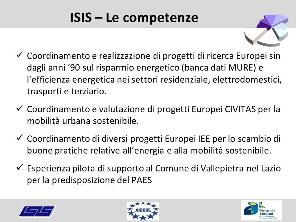 ISIS – Le competenze Coordinamento e realizzazione di progetti di ricerca Europei sin dagli anni '90 sul risparmio energetico (banca dati MURE) e l'ef