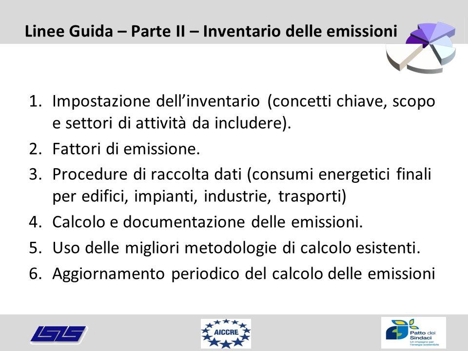 Linee Guida – Parte II – Inventario delle emissioni 1.Impostazione dell'inventario (concetti chiave, scopo e settori di attività da includere). 2.Fatt