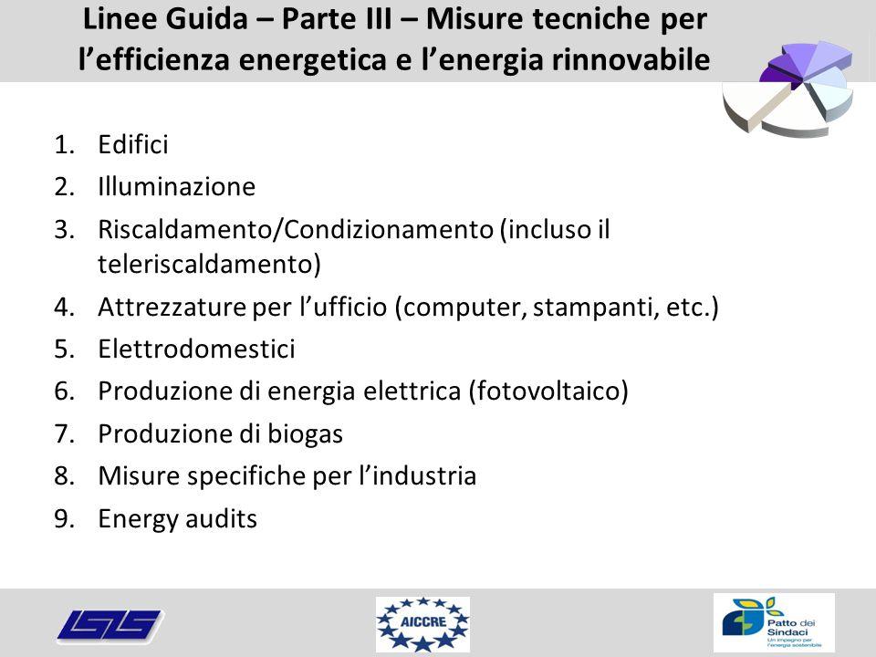Linee Guida – Parte III – Misure tecniche per l'efficienza energetica e l'energia rinnovabile 1.Edifici 2.Illuminazione 3.Riscaldamento/Condizionament