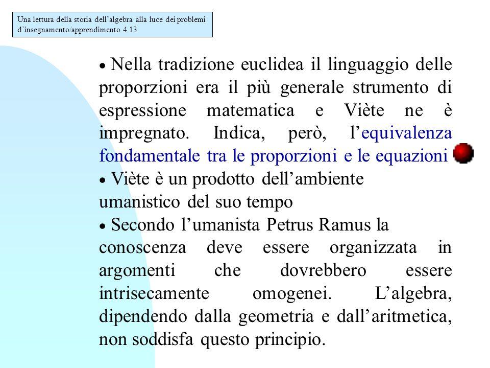  Nella tradizione euclidea il linguaggio delle proporzioni era il più generale strumento di espressione matematica e Viète ne è impregnato.