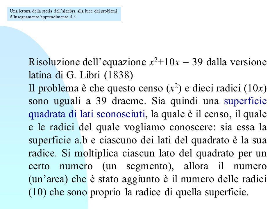 Risoluzione dell'equazione x 2 +10x = 39 dalla versione latina di Libri (segue) Dopo che si è detto che con il censo ci sono dieci radici, prenderò la quarta parte di dieci, che è 2,5.